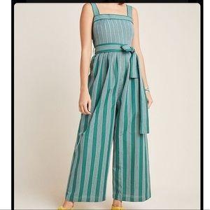 {Anthropologie} Striped Jumpsuit